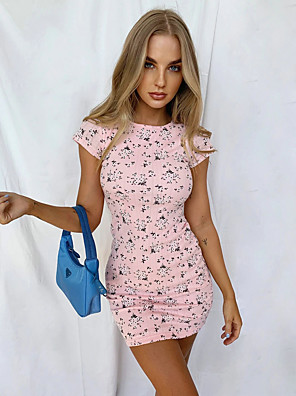 cheap Mini Dresses-Women's Bodycon Dress - Short Sleeves Print Solid Color Spring Summer Sexy Daily 2020 Blushing Pink S M L XL