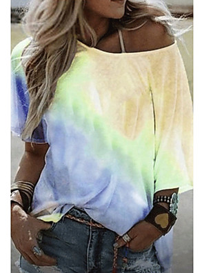 cheap Women's T-shirts-Women's T-shirt Color Block Tie Dye Round Neck Tops Basic Top Purple Yellow Blushing Pink
