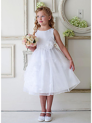 cheap Flower Girl Dresses-A-Line Knee Length Wedding / Party Flower Girl Dresses - Satin / Tulle Sleeveless Jewel Neck with Appliques / Ruching