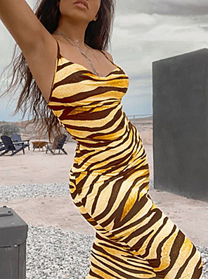 cheap Mini Dresses-2020 SUMMER Sexy Animal Print Cami Dress