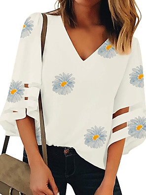 cheap Summer Dresses-Women's Tops Floral Daisy T-shirt - Print V Neck Loose Daily White S M L XL 2XL 3XL