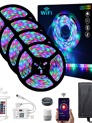 cheap Quartz Watches-ZDM® 4x5M Light Sets RGB Strip Lights 1620 LEDs 2835 SMD 8mm 1 24Keys Remote Controller 1x 1 To 4 Cable Connector 1 DC Cables 1 set RGB Christmas New Year's APP Control Cuttable Party 12 V