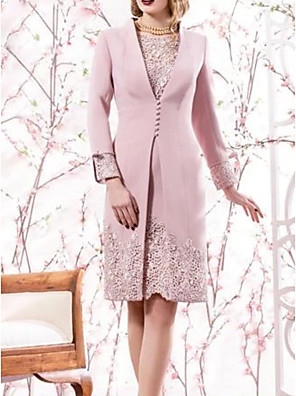 cheap Prom Dresses-Two Piece Mother of the Bride Dress Elegant Jewel Neck Knee Length Lace Satin Long Sleeve with Embroidery 2020