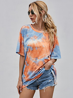 cheap Oversize Sweater-Women's T-shirt Tie Dye Print Round Neck Tops Loose Basic Summer Orange / Going out