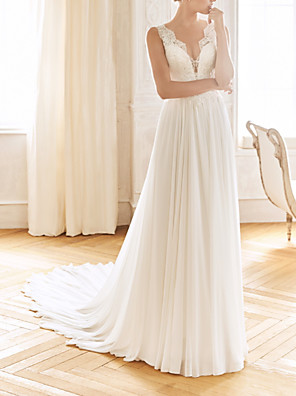 cheap Wedding Dresses-A-Line Wedding Dresses V Neck Sweep / Brush Train Chiffon Lace Sleeveless Vintage Sexy Wedding Dress in Color See-Through Backless with Pleats 2020