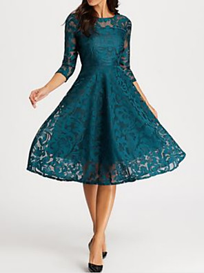 cheap Wedding Dresses-A-Line Elegant Turquoise / Teal Party Wear Prom Dress Jewel Neck 3/4 Length Sleeve Knee Length Lace with Lace Insert Appliques 2020
