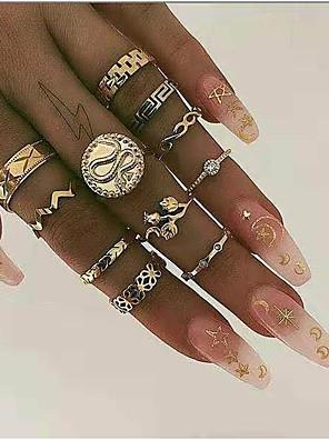 baratos Relógios de quartzo-Mulheres Encaixe do Anel Anéis Meio Dedo 10pçs 1conjunto Dourado Strass Liga Redonda Importante Estiloso Simples Rua Jóias Cobra