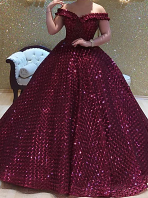 cheap Evening Dresses-Ball Gown Elegant Sparkle Prom Formal Evening Dress Off Shoulder Short Sleeve Court Train Sequined with Sequin 2020