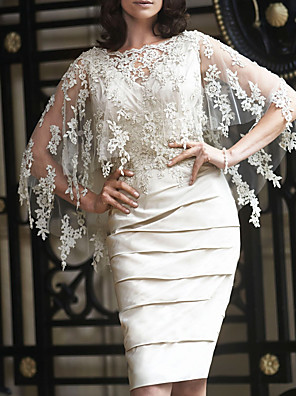 cheap Romantic Lace Dresses-Sheath / Column Mother of the Bride Dress Elegant Jewel Neck Knee Length Lace Satin Tulle Long Sleeve with Appliques Ruching 2020