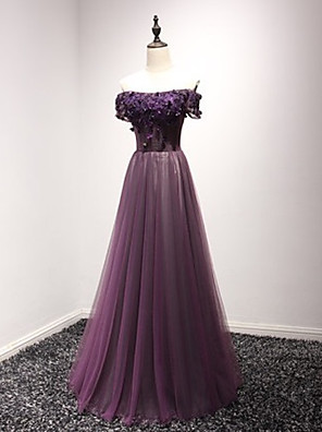 cheap Evening Dresses-A-Line Luxurious Purple Engagement Formal Evening Dress Off Shoulder Short Sleeve Floor Length Tulle with Appliques 2020