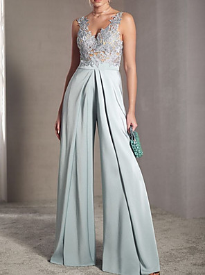 cheap Prom Dresses-Jumpsuits Elegant Sexy Engagement Prom Dress V Neck Sleeveless Floor Length Chiffon with Pleats Appliques 2020