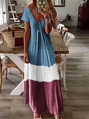 cheap Maxi Dresses-Women's Plus Size Maxi long Dress - Short Sleeves Color Block Summer V Neck Casual Holiday Vacation Loose Blue Red Green Brown Gray S M L XL XXL XXXL XXXXL XXXXXL