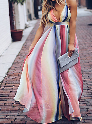 cheap Women's Dresses-Women's Maxi Sheath Dress - Sleeveless Tie Dye Backless Summer Fall Strap Boho Street chic Party Going out Belt Not Included 2020 White S M L XL