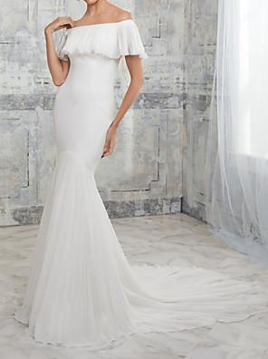 cheap Wedding Dresses-Mermaid / Trumpet Wedding Dresses Off Shoulder Court Train Stretch Satin Chiffon Over Satin Short Sleeve Simple with Ruffles 2020