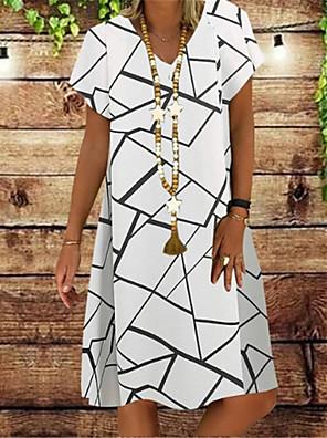 cheap Summer Dresses-Women's A Line Dress - Short Sleeves Print Patchwork Summer V Neck Casual Vintage Daily Belt Not Included Oversized 2020 White Black Navy Blue S M L XL XXL XXXL XXXXL XXXXXL