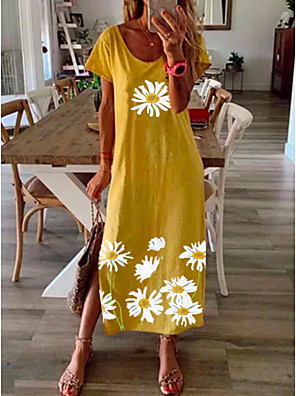 cheap Maxi Dresses-Women's Daisy Maxi long Dress - Short Sleeve Floral Print Summer Casual Vacation Loose 2020 Black Blue Yellow Gray S M L XL XXL XXXL