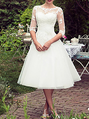cheap Wedding Dresses-A-Line Wedding Dresses Jewel Neck Tea Length Lace Tulle Half Sleeve Vintage Sexy Wedding Dress in Color with Embroidery Appliques 2020
