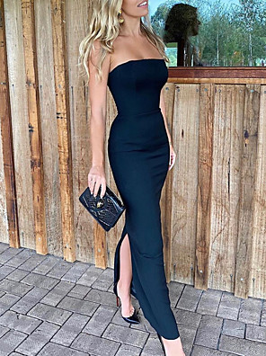 cheap Evening Dresses-Sheath / Column Elegant Black Party Wear Formal Evening Dress Strapless Sleeveless Floor Length Satin with Split 2020