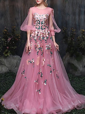 cheap Prom Dresses-A-Line Luxurious Pink Engagement Formal Evening Dress Illusion Neck 3/4 Length Sleeve Chapel Train Tulle with Appliques 2020