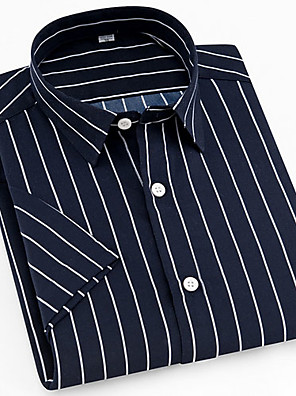 cheap Men's Shirts-Men's Striped Plaid Print Shirt Daily Button Down Collar Navy Blue / Short Sleeve