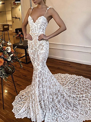 cheap Wedding Dresses-Mermaid / Trumpet Wedding Dresses V Neck Spaghetti Strap Court Train Lace Sleeveless Sexy See-Through with Lace Embroidery 2020
