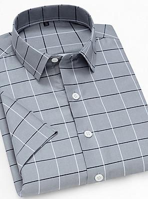 cheap Men's Shirts-Men's Daily Shirt Plaid Print Short Sleeve Tops Button Down Collar Gray