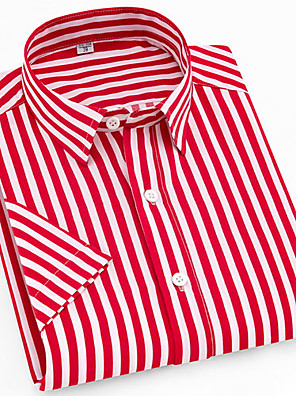 cheap Prom Dresses-Men's Shirt Striped Plaid Print Tops Button Down Collar Red / Short Sleeve