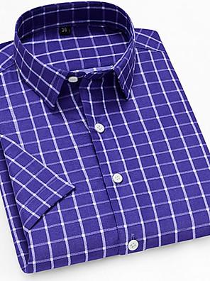 cheap Men's Shirts-Men's Daily Shirt Plaid Print Short Sleeve Tops Button Down Collar Royal Blue
