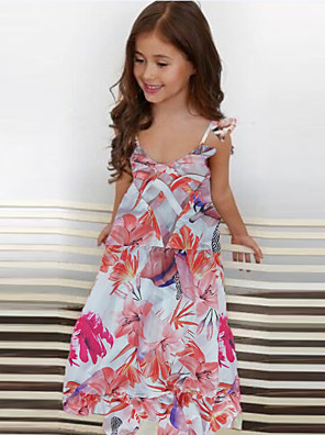 cheap Girls' Dresses-Kids Girls' Floral Print Dress Blushing Pink
