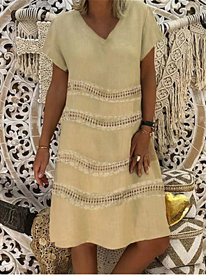 cheap Print Dresses-Women's A Line Dress - Short Sleeves Print Patchwork Summer V Neck Casual Vintage Daily Belt Not Included Oversized 2020 Blue Yellow Fuchsia Green Beige S M L XL XXL XXXL
