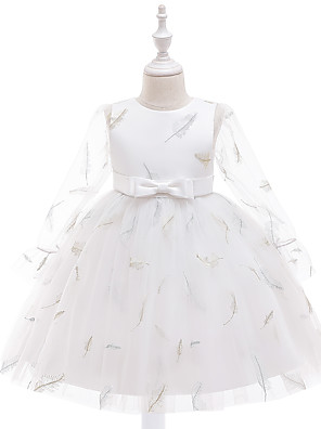cheap Girls' Dresses-Kids Girls' Cute Butterfly Solid Colored Bow Embroidered Mesh Long Sleeve Knee-length Dress White