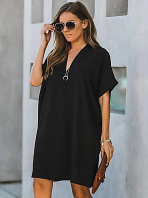 cheap Mini Dresses-Women's Shift Dress Knee Length Dress - Short Sleeves Solid Color Patchwork Summer Fall Street chic Daily 2020 Wine Black XXL XXXL XXXXL XXXXXL XXXXXXL