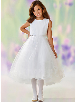 cheap Top Sellers-A-Line Ankle Length Wedding / Party Flower Girl Dresses - Satin / Tulle Sleeveless Jewel Neck with Tier
