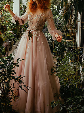 cheap Evening Dresses-A-Line Floral Pink Wedding Guest Prom Dress Jewel Neck Long Sleeve Floor Length Tulle with Pleats Appliques 2020