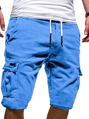 cheap Men's Pants & Shorts-Men's Basic Military Plus Size Daily Weekend Slim Shorts Tactical Cargo Pants - Solid Colored Sporty Drawstring Outdoor Summer White Black Blue US32 / UK32 / EU40 / US34 / UK34 / EU42 / US36 / UK36