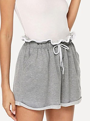 cheap Women's T-shirts-Women's Basic Loose Chinos Shorts Pants Solid Colored Gray S M L