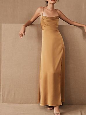 cheap Evening Dresses-Sheath / Column Elegant Beautiful Back Engagement Prom Dress Spaghetti Strap Sleeveless Floor Length Satin with Sleek 2020