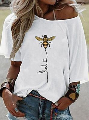cheap Women's Blouses & Shirts-Women's T-shirt Animal Short Sleeve Loose Tops White Yellow Blushing Pink