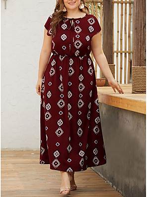 cheap Plus Size Dresses-Women's A-Line Dress Maxi long Dress - Short Sleeves Geometric Summer Elegant 2020 Wine Black Navy Blue XL XXL XXXL XXXXL