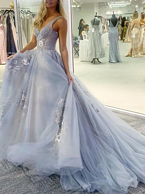 cheap Evening Dresses-A-Line Floral Sexy Engagement Formal Evening Dress V Neck Sleeveless Watteau Train Tulle with Embroidery 2020