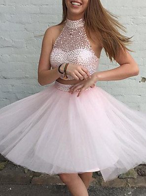 cheap Special Occasion Dresses-Two Piece Beautiful Back Sexy Homecoming Cocktail Party Dress Halter Neck Sleeveless Short / Mini Tulle with Beading Sequin 2020