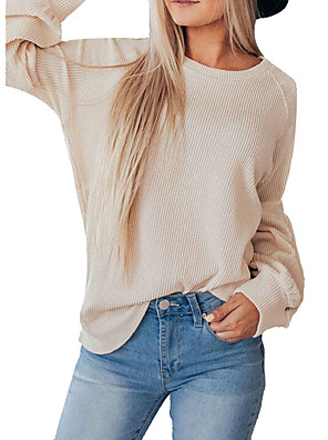 cheap Women's Blouses & Shirts-Women's Blouse Solid Colored Round Neck Tops Lantern Sleeve Loose Basic Spring Fall Navy Blue Beige