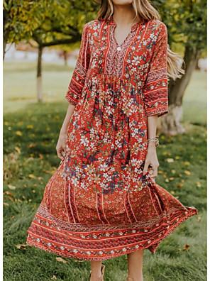 cheap Plus Size Dresses-Women's A-Line Dress Midi Dress - 3/4 Length Sleeve Floral Summer Street chic 2020 Red S M L XL XXL XXXL