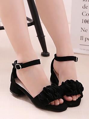 cheap Evening Dresses-Girls' Sandals Comfort Suede Little Kids(4-7ys) Black / Red / Pink Summer