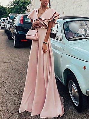cheap Prom Dresses-Sheath / Column Maxi Minimalist Wedding Guest Formal Evening Dress V Neck Short Sleeve Floor Length Spandex with Sleek Ruffles 2020