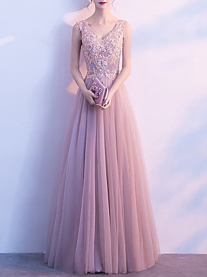 cheap Prom Dresses-A-Line Luxurious Pink Wedding Guest Formal Evening Dress V Neck Sleeveless Floor Length Tulle with Appliques 2020