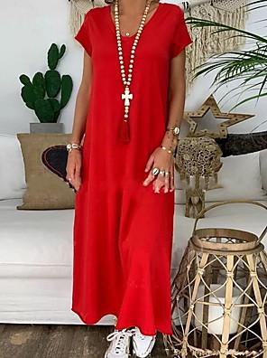 cheap Romantic Lace Dresses-Women's Shift Dress - Short Sleeves Solid Color Summer V Neck Street chic 2020 Red S M L XL XXL XXXL
