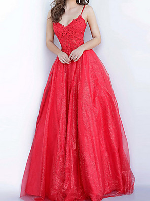 cheap Prom Dresses-Ball Gown Elegant Floral Engagement Prom Dress Spaghetti Strap Sleeveless Floor Length Tulle with Pleats Appliques 2020
