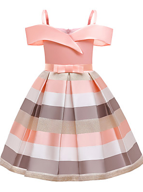 cheap Girls' Dresses-Kids Girls' Active Vintage Striped Bow Pleated Sleeveless Knee-length Dress Blue