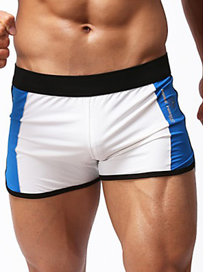 cheap Men's Exotic Underwear-Men's Basic Bottoms Boy Leg Swimwear Swimsuit Bathing Suits - Color Block White Black Blue Fuchsia S M L